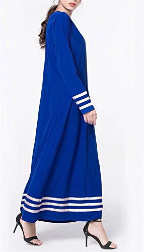 Blue Gown With Women's Solid Striped Betusline Neck Round Muslim Long Dress 7vZSqwB