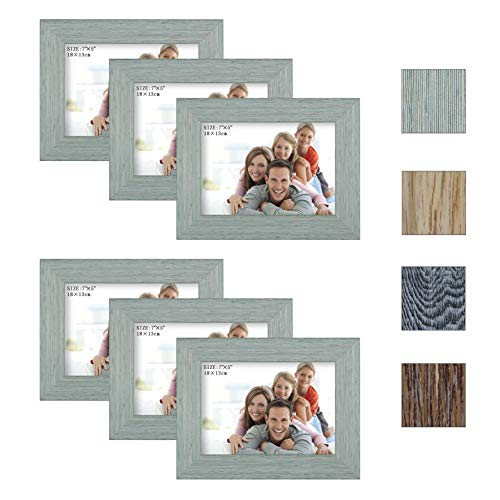 Julone 5x7 Picture Frames (Blue Cyan 6 Pack) Rustic Style Made of Wood Finish High Definition Glass for Table Top Display and Wall Mounting Photo Frame