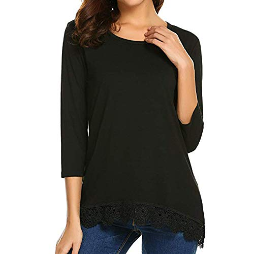 Lungo Camicetta Donne Daoope Pizzo Shirt Manicotto Lunga Black Casual Top Donna shirt Elegante donna T UwwROqTx