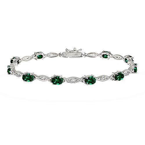 GemStar USA Sterling Silver Simulated Emerald and White Topaz Oval-Cut Swirl Tennis Bracelet