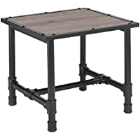 Major-Q Industrial Style End Table for Living Room, Rectangular, Wood Rustic and Oak Finish, 24 x 24 x 23