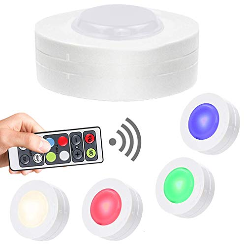 - SALKING Wireless RGB Puck Lights with Remote Control, LED Under Cabinet Lighting, Colors Changing Battery Operated Lights, Dimmable Closet Light, Under Counter Lighting for Kitchen Halloween 4 Pack