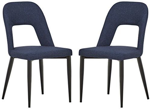 "Rivet Florence Mid-Century Modern Set of 2 Wide Open-Back Accent Kitchen Dining Room Chairs - 18.8""W, Navy Blue"