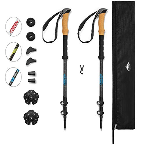 Cascade Mountain Tech Carbon Fiber Adjustable Trekking Poles - Lightweight Quick Lock Walking or Hiking Stick - 1 Set ( 2 Poles), Cork Grip, Grey