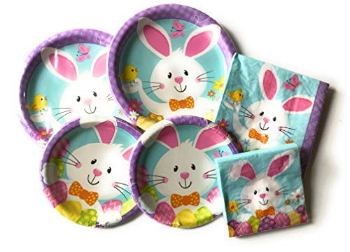 Easter Paper Plates and Napkins Set - Set of 32 Party Creations Durable Paper Plates and 32 Napkins - Durable and Very Cute and Colorful Theme Set - Great Value -