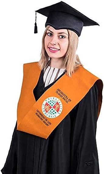 Tiltextil Pack Beca (banda), Birrete y Toga de graduación para adulto unisex. Beca con emblema personalizable y varios colores: Amazon.es: Ropa y accesorios