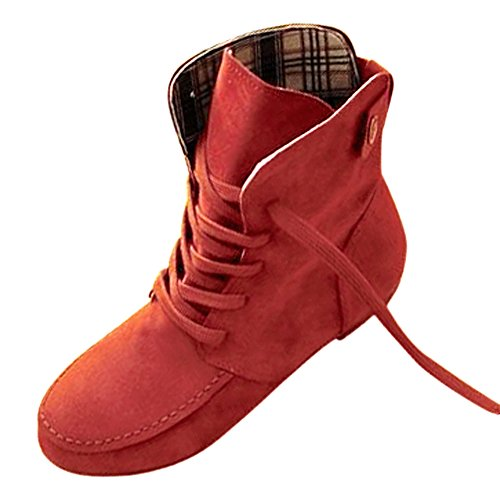 SODIAL(R) Autumn Boots Snow Boots for Women Martin Boots Suede Leather Boots size9 light red rI7hAm