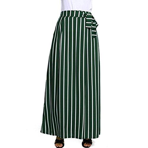 lunghezza sexy Lace lunga gonna Vita caviglia donna alta Vestito casuale LQQSTORE vintage Striped moda up da Donne Chiffon wSfnHqC