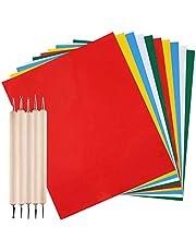 AFUNTA 10 piezas de papel de transferencia con 5 piezas de lápiz óptico de doble punta para repujado, papel de trazado soluble en agua de carbono, tela, madera para costura, kit de pintura para punto