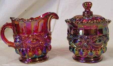 - Ruby Red Carnival Glass Creamer & Sugar Set ~ Eye Winker Pattern