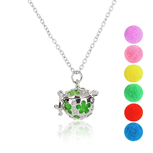 Women's Hollow Out Flower Pattern Essential Oil Aromatherapy Necklace Out Flower Pattern