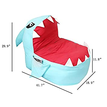 YHOUSE Cute Shark Bean Bag Chair Cover Kids, Soft Canvas Stuffed Animal Storage Bags Child Bedroom, Organizer Plush Toy, Towels Clothes No Stuffing Blue