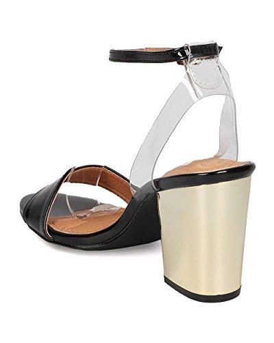 Alrisco Women Patent Block Heel Sandal - Dressy, Formal, Party - Ankle Strap Heel - GE46 by Black