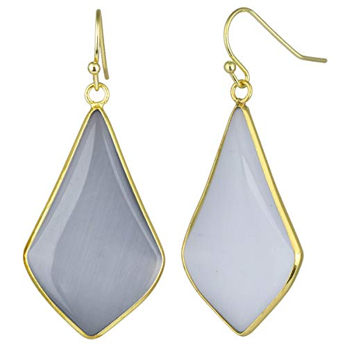 - TUMBEELLUWA Crystal Quartz Stone Dangle Hook Earrings Rhombus Gold Plated, Gray Cat's Eye Stone