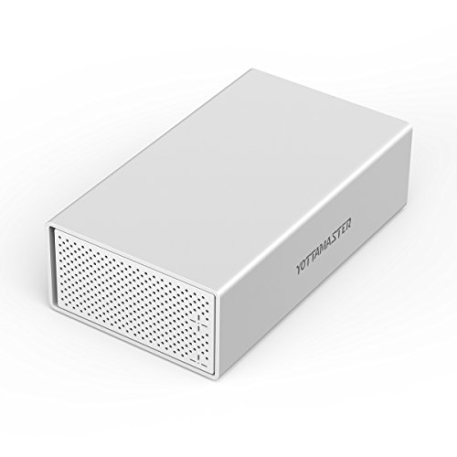 Yottamaster Aluminum Alloy 3.5 inch USB3.1 Type C 2 Bay External Hard Drive Enclosure SATA3.0 Desktop Support 2 x 10TB & UASP -Silver