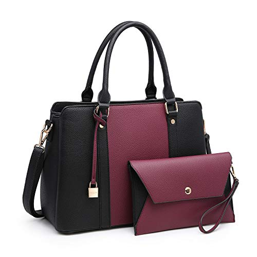 Women Handbags, Large Designer Lady Satchel Multi-Pockets Shoulder Bag Fashion Tote w/ Wallet Set (8011-PP/BK)