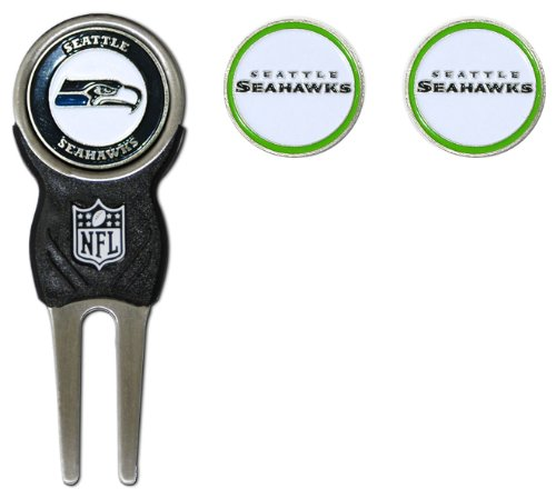 Team Golf NFL Seattle Seahawks Divot Tool with 3 Golf Ball Markers Pack, Markers are Removable Magnetic Double-Sided Enamel