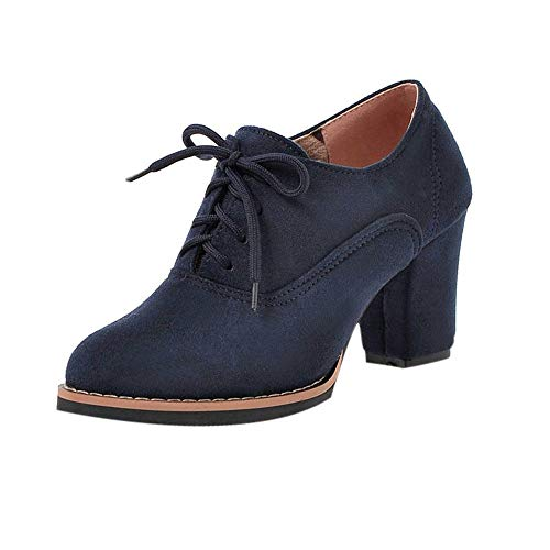 - GIFC Retro Women Solid Lace-Up High Thick Square Flock Ankle Boots Round Toe Fashion Ladies Shoes Blue