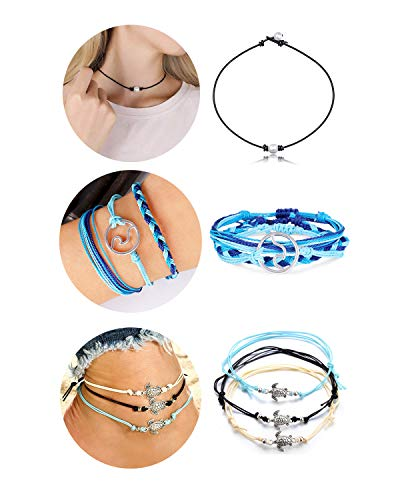 choice of all 7Pcs Pearl Choker Necklace Surfer Wave Bracelet Turtle Seashell Anklet Boho Jewellery Set (A)