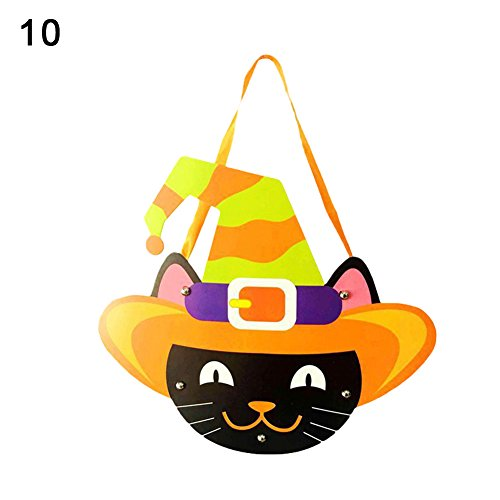 (Kids Handwork DIY Halloween Cartoon Ghost Castle Pumpkin Gift Candy Bag Handbag 10)