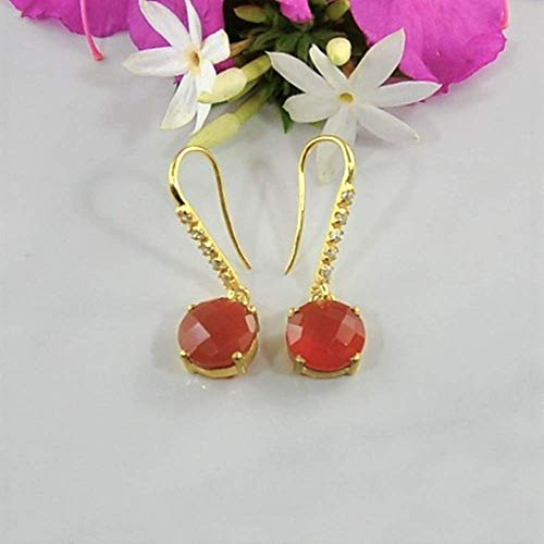 SIVALYA Carnelian Earrings in 925 Sterling Silver with Gold Vermeil - Luxurious Gift Packaging Included - Great Gift for Her