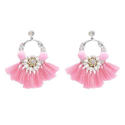 Twinsmall Dangle Earrings Tassel Hoop Earrings Bohemia Fan Shape Drop Earrings Dangle Hook Eardrop for Women Party (Pink 3) ()