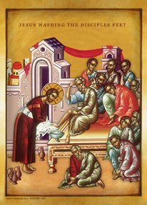 Jesus Washing The Disciples Feet, Byzantine Icon]()