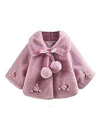 BAOBAOLAI Newborn Infant Baby Girls Clothes Warm Plus Velvet Coat Floral Cloak Jacket