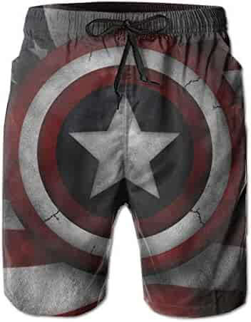 623ad80643912 Captain America Mens Swim Trunks Summer Quick Dry Board Shorts with Mesh  Lining/Side Pockets