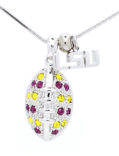 LSU TIGERS Football Necklace - Large - Purple & Yellow Crystals