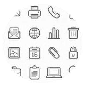 alfombrilla de ratón elementos de oficina línea de símbolos icono conjunto - ronda - 20cm