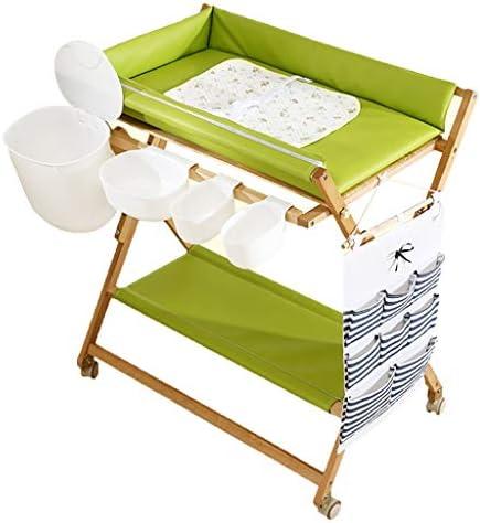 おむつ 交換台 緑の折る赤ん坊の変更の場所、安全革紐および貯蔵が付いている移動式おむつの場所 - コマーシャル/洗面所/デイケアのため