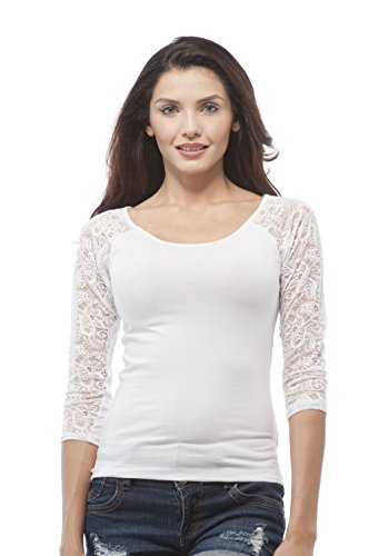 3/4 Sleeve Lace Contrast Scoop Neck Top (Large, White)