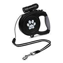 Dog Retractable Leash, Ideapro 26ft Training Dog Leash With 9 LED Detachable Flashlight With Comfortable Grip & One Button Brake & Lock (up to 130lb dogs)