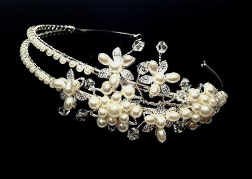 Price comparison product image iPhashon Silver Bridal Wedding Prom Rhinestone Crystal & Pearl Design Princess Crown Tiara Headband H815