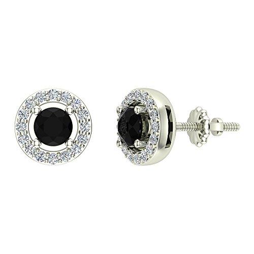 (Natural Black Diamond Halo Stud Diamond Earrings 14K White Gold)