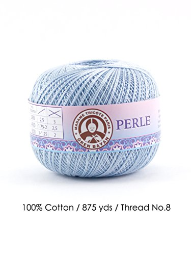 Perle 8/100% Cotton / 875 Yards/Thread No. 8 (Light Blue) ()