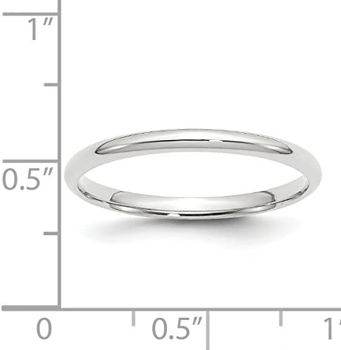 10K White Gold 2mm Light Weight Comfort Fit Band Ring Size 4 to 14