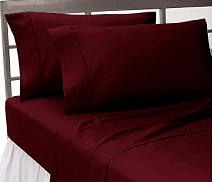Superieur 1500 Thread Count Egyptian Quality Bed Sheet Set Twin Burgundy Red Deep  Pocket