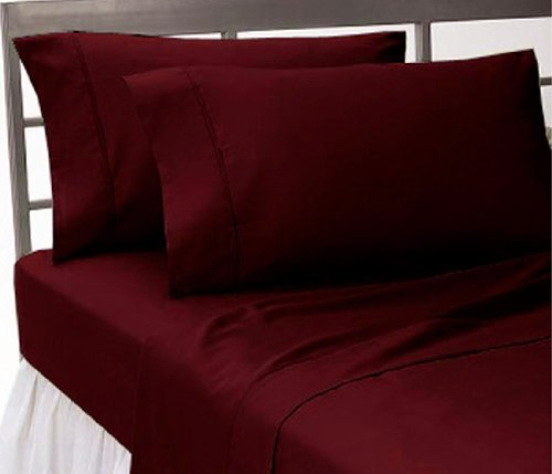 Amazon.com: 1500 Thread Count Egyptian Quality Bed Sheet Set Twin Burgundy  Red Deep Pocket 3Pc: Home U0026 Kitchen