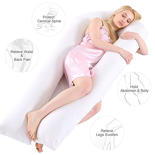 Wannafree Full Body Pregnancy Pillow - Maternity Pillow for Pregnant Women - Comfort U Shaped Body Zootzi Pillow with 100% Hypoallergenic Washable Cotton Cover