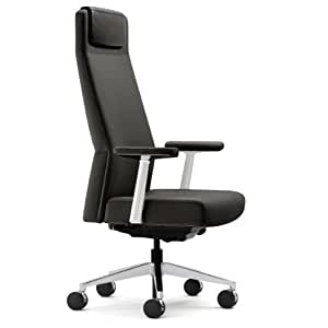 Steelcase Siento High Leather Back Chair, Ebony