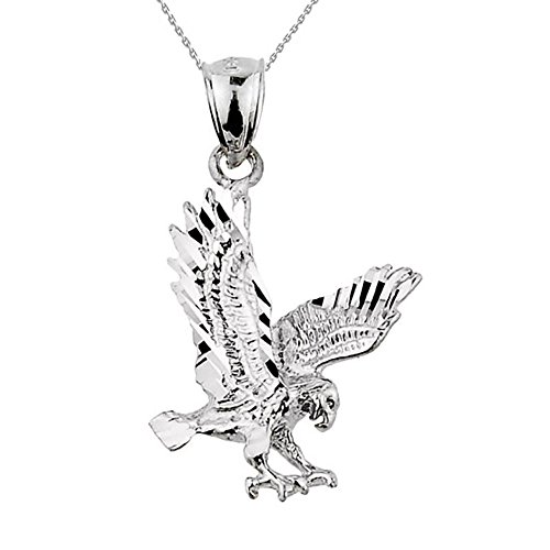 Animal Kingdom Textured Sterling Silver Landing Eagle Charm Pendant Necklace, 16