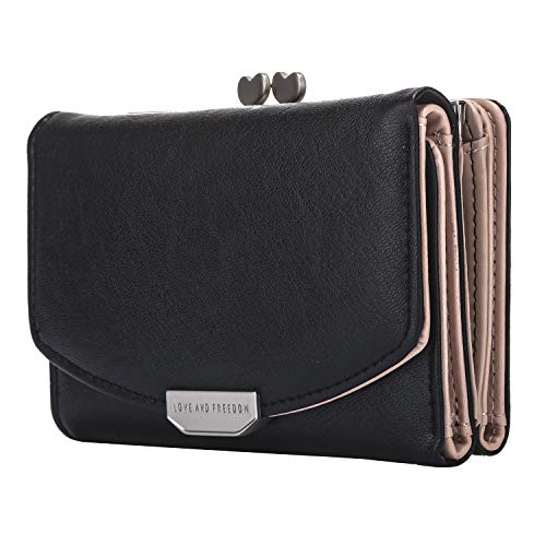 Lomendio Womens Genuine Leather Wallet RFID Blocking Credit Card Holder Multi Card Organizer with Zipper Pocket (Black)