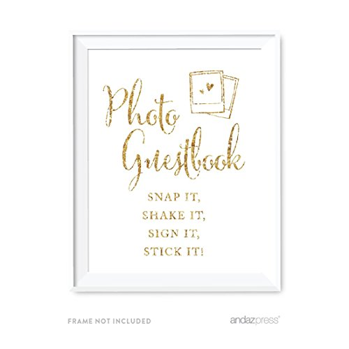 Andaz Press Wedding Party Signs, Gold Glitter Print, 8.5x11-inch, Photo Guestbook Snap It, Shake It, Sign It, Stick It, Polaroid Sign 1-Pack, Not Real - Polaroids Order