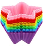 Silicone Primary Color Cupcake Liners - Assorted 3 Inch Star Shaped - 12 Pack - 3 inches