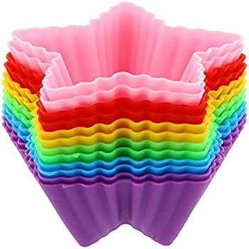 12 Pack - Silicone Cupcake Liners/Star Cupcake Liners - Colorful Assortment - 3 Inches