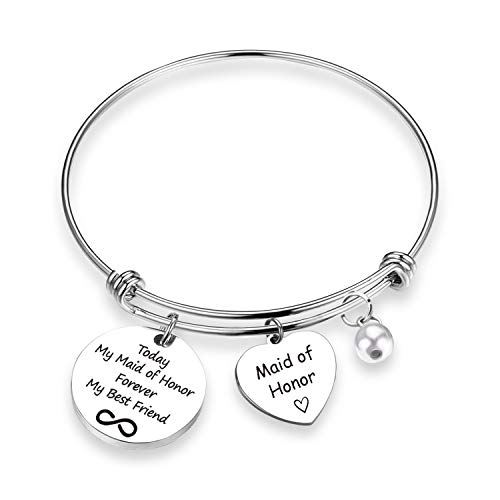 Maid of Honor Gift Today My Maid of Honor Forever My Best Friend Bracelet Jewelry Bridesmaid Jewelry Wedding Gift (Maid of Honor Today BR)
