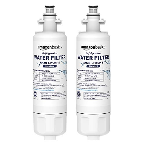 AmazonBasics Replacement LG LT700P Refrigerator Water Filter Cartridge - Pack of 2, Standard Filtration