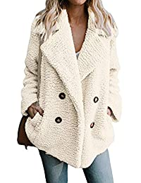 Womens Lapel Faux Shearling Coat Jacket Parka Button Up Overcoat Plush Open Front Coat Outwear